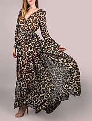 cheap -Women's Maxi Brown Dress A Line Leopard V Neck S M