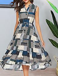 cheap -Women's Blue Dress A Line Color Block V Neck L XL