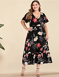 cheap -Women's Plus Size Maxi A Line Dress - Long Sleeve Floral Print Spring & Summer V Neck Casual Boho Daily Going out Batwing Sleeve Black L XL XXXL