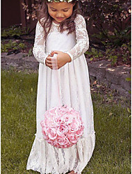 cheap -A-Line Floor Length Wedding Flower Girl Dresses - Lace / Taffeta / Stretch Satin Long Sleeve Jewel Neck with Ruching / Solid