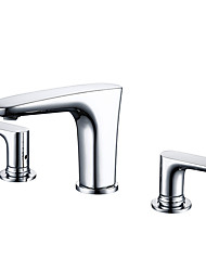 cheap -Bathroom Sink Faucet - Widespread Chrome Widespread Two Handles Three HolesBath Taps