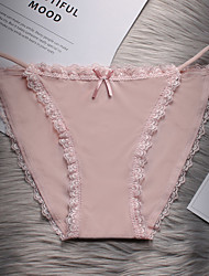 cheap -Women's Lace / Bow / Basic Brief - Normal Mid Waist Wine Blushing Pink Khaki One-Size