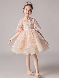 cheap -Ball Gown Short / Mini Party / Pageant Flower Girl Dresses - Polyester Half Sleeve Jewel Neck with Appliques