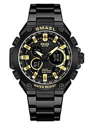 cheap -Men's Steel Band Watches Quartz Water Resistant / Waterproof Analog - Digital Black+Gloden Black / One Year / Stainless Steel / Japanese / Calendar / date / day / Noctilucent