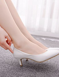 cheap -Women's Wedding Shoes Kitten Heel Pointed Toe PU Casual / Minimalism Spring & Summer / Fall & Winter White