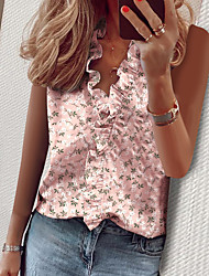cheap -Women's Floral Letter Ruffle Pleated Print Blouse Basic Street chic Daily Going out V Neck White / Blushing Pink / Khaki