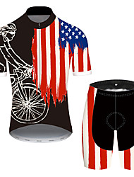 cheap -21Grams Men's Short Sleeve Cycling Jersey with Shorts Spandex Polyester Black / Red American / USA National Flag Bike Clothing Suit UV Resistant Breathable Quick Dry Sweat-wicking Sports American