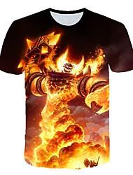 お買い得  -男性用 3D プリント スリム Tシャツ 日常 ラウンドネック ルビーレッド / 半袖