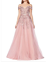 cheap -A-Line Luxurious Pink Engagement Prom Dress Off Shoulder Short Sleeve Floor Length Tulle with Sash / Ribbon Sequin 2020