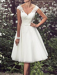 cheap -A-Line Wedding Dresses V Neck Tea Length Lace Tulle Cap Sleeve Vintage Plus Size with Lace Lace Insert 2020