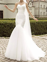 cheap -Mermaid / Trumpet Wedding Dresses Sweetheart Neckline Sweep / Brush Train Polyester Strapless Country Plus Size with Ruched Lace Insert 2020