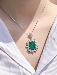 cheap -8 carat Synthetic Emerald Necklace Alloy For Women's Emerald cut Antique Luxury Bridal Wedding Party Evening Formal High Quality Pave