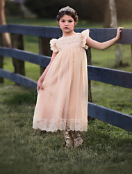 cheap -A-Line Ankle Length Wedding / Party Flower Girl Dresses - Lace / Satin / Taffeta Short Sleeve Jewel Neck with Bow(s) / Solid
