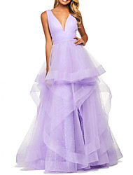 cheap -Ball Gown Elegant Purple Prom Formal Evening Dress V Neck Sleeveless Floor Length Polyester with Tier 2020