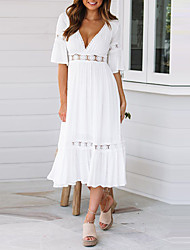 cheap -Women's Maxi Swing Dress - Half Sleeve Solid Colored Lace Pleated Patchwork Deep V Elegant Street chic Date Festival White S M L XL