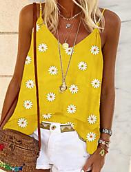 Недорогие -Жен. Цветочный принт С принтом Блуза Повседневные Черный / Желтый / Зеленый