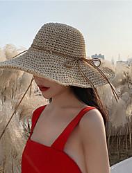 Недорогие -Жен. Классический Соломенная шляпа Солома,Однотонный Все сезоны Хаки Бежевый