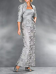 cheap -Sheath / Column Mother of the Bride Dress Elegant Queen Anne Ankle Length Lace Satin 3/4 Length Sleeve with Beading Appliques 2021