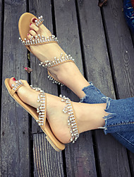 cheap -Women's Flats 2020 Flat Heel Open Toe Imitation Pearl / Beading PU Preppy / Minimalism Spring &  Fall / Spring & Summer Yellow