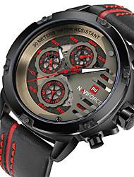 cheap -NAVIFORCE Men's Dress Watch Wrist Watch Quartz Fashion Water Resistant / Waterproof Three Time Zones Casual Watch Analog Black / Gold Golden Black / Yellow / Genuine Leather / Genuine Leather
