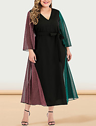 cheap -Women's Plus Size Maxi A Line Dress - Long Sleeve Color Block Solid Color Patchwork V Neck Casual Sophisticated Daily Going out Flare Cuff Sleeve Black L XL XXL XXXL XXXXL / Retro