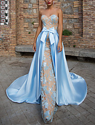 cheap -Sheath / Column Elegant Blue Party Wear Formal Evening Dress Sweetheart Neckline Sleeveless Court Train Satin with Bow(s) Pattern / Print 2020