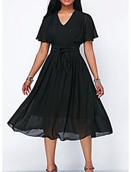 cheap -A-Line Mother of the Bride Dress Elegant V Neck Tea Length Chiffon Satin Short Sleeve with Sash / Ribbon Pleats 2020