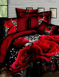 cheap -3D Floral Printed Bedclothes King Size Wedding Decorative Duvet Cover Sheet Pillowcase Romantic Red Rose Bedding Set for Adults