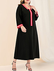 cheap -Women's Plus Size Maxi A Line Dress - Long Sleeve Color Block Solid Color Patchwork Spring & Summer Fall & Winter Casual Daily Flare Cuff Sleeve Black L XL XXL XXXL XXXXL