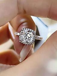 Недорогие -2 карата Синтетический алмаз Кольцо Серебристый Назначение Жен. Квадратное сокращение Стиль Роскошь Классика Секси Свадьба Вечерние Официальные Высокое качество большой