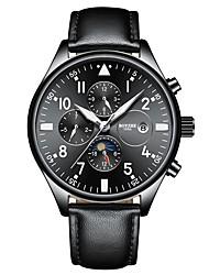 Недорогие -Муж. Спортивные часы С автоподзаводом Спортивные Стильные Натуральная кожа Черный / Серебристый металл / Оранжевый 30 m Защита от влаги Календарь Ударопрочный Аналоговый На каждый день -