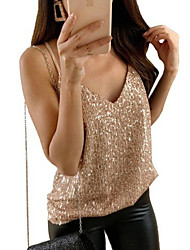 cheap -Women's Plus Size Tank Top - Solid Colored Fashion / Glitter V Neck Gold / Spring / Summer / Fall / Winter