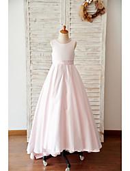 cheap -A-Line Floor Length Wedding / Birthday Flower Girl Dresses - Satin Sleeveless Jewel Neck with Bow(s)