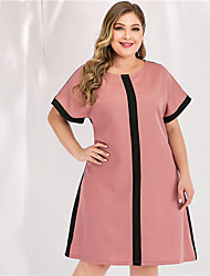 cheap -Women's Plus Size Maxi A Line Dress - Long Sleeve Color Block Solid Color Patchwork Spring & Summer Casual Street chic Party Going out Loose Blushing Pink L XL XXL XXXL