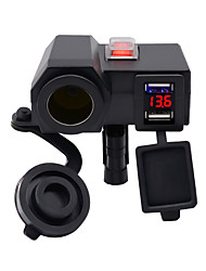 cheap -DC12V Motorcycle Car Charger / WUPP Three Generation C Model Without Cigarette Lighter Function / Double USB Port / With Waterproof Dust Cover Voltmeter and Independent Switch / Black