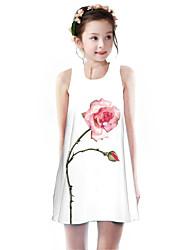 cheap -Kids Girls' Basic Cute Rose Plants Floral Print Sleeveless Knee-length Dress White