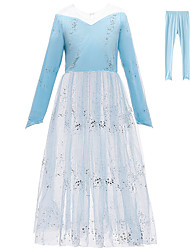 cheap -Princess Elsa Dress Pants Flower Girl Dress Girls' Movie Cosplay A-Line Slip Vacation Dress Blue Dress Pants Children's Day Masquerade Tulle Sequin Cotton