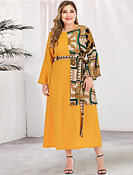cheap -Women's Plus Size Maxi A Line Dress - Long Sleeve Geometric Solid Color Patchwork Print Spring & Summer Fall & Winter Casual Street chic Daily Flare Cuff Sleeve Belt Not Included Loose Yellow L XL
