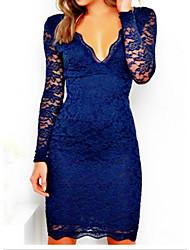 cheap -Women's Blue Dress Sheath Solid Color S M