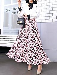 Недорогие -Жен. Уличный стиль Качеля Подол Цветочный принт Белый S M L