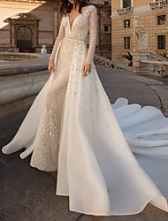 cheap -Sheath / Column Wedding Dresses V Neck Watteau Train Tulle Long Sleeve Country Plus Size with Beading Draping Appliques 2020