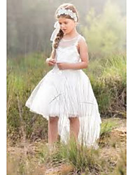 cheap -A-Line Asymmetrical Wedding Flower Girl Dresses - Tulle Sleeveless Jewel Neck with Solid