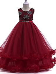 cheap -Princess Round Floor Length Cotton Junior Bridesmaid Dress with Bow(s) / Crystals / Appliques