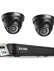 cheap -ZOSI H.265 4CH 1080P HD 4-in-1 DVR and 2.0MP Night Vision Waterproof Outdoor Dome Camera Security System DVR Kit with 1TB Hard Disk