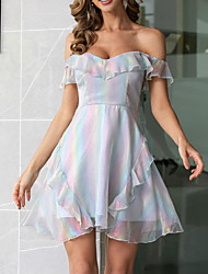 cheap -Womens Silver Off Shoulder Mini Causal Dress MM0669
