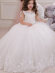 cheap -Ball Gown Floor Length Event / Party / Birthday Flower Girl Dresses - Polyester Sleeveless Jewel Neck with Appliques