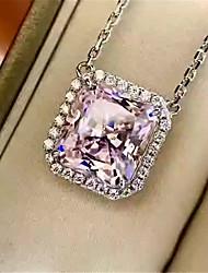 Недорогие -4 карата Синтетический алмаз Цепочка Серебристый Назначение Жен. Квадратное сокращение Стиль Роскошь Элегантный стиль Свадьба Свадьба Вечерние Официальные Высокое качество большой
