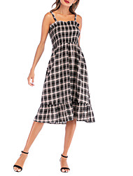 cheap -Women's A Line Dress - Sleeveless Check Pleated Strap Sexy Holiday Going out Belt Not Included Loose Black S M L XL / Cotton