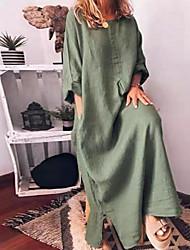 Недорогие -Жен. Макси Прямое Платье - Рукав 3/4 Сплошной цвет Элегантный стиль Винный Зеленый Серый M L XL XXL XXXL XXXXL XXXXXL