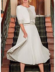 cheap -A-Line Mother of the Bride Dress Elegant Jewel Neck Tea Length Chiffon Satin Half Sleeve with Pleats Sequin 2020